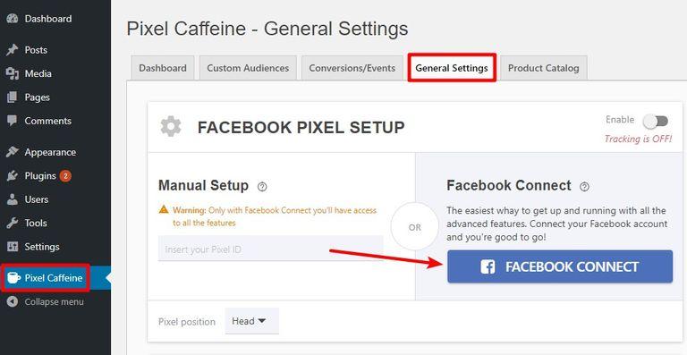 Установка Facebook Pixel с помощью плагина Caffeine